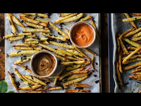 Crispy french fries » 4 recipes + dips + oven-baked ��