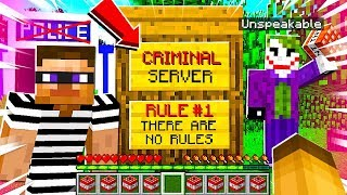 I Joined a CRIMINAL ONLY Minecraft Server without POLICE and NO RULES!