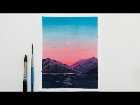 how-to-paint-sunset-landscape-|-easy-watercolor-sunset-painting-for-beginners-|-daily-challenge