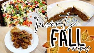 FAVORITE FALL RECIPES! 🍁 SLOW COOKER BEEF STEW 🥩 VEGGIE PIZZA APPETIZER 🥦 PUMPKIN BARS 🎃
