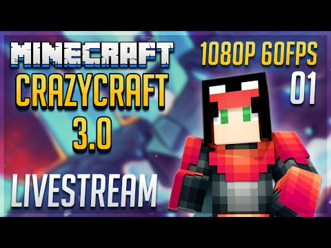 Minecraft Crazy Craft 3.0 GETTING STARTED LIVE | Crazy Craft Mod Pack Let's Play | #1 [Survival SP]