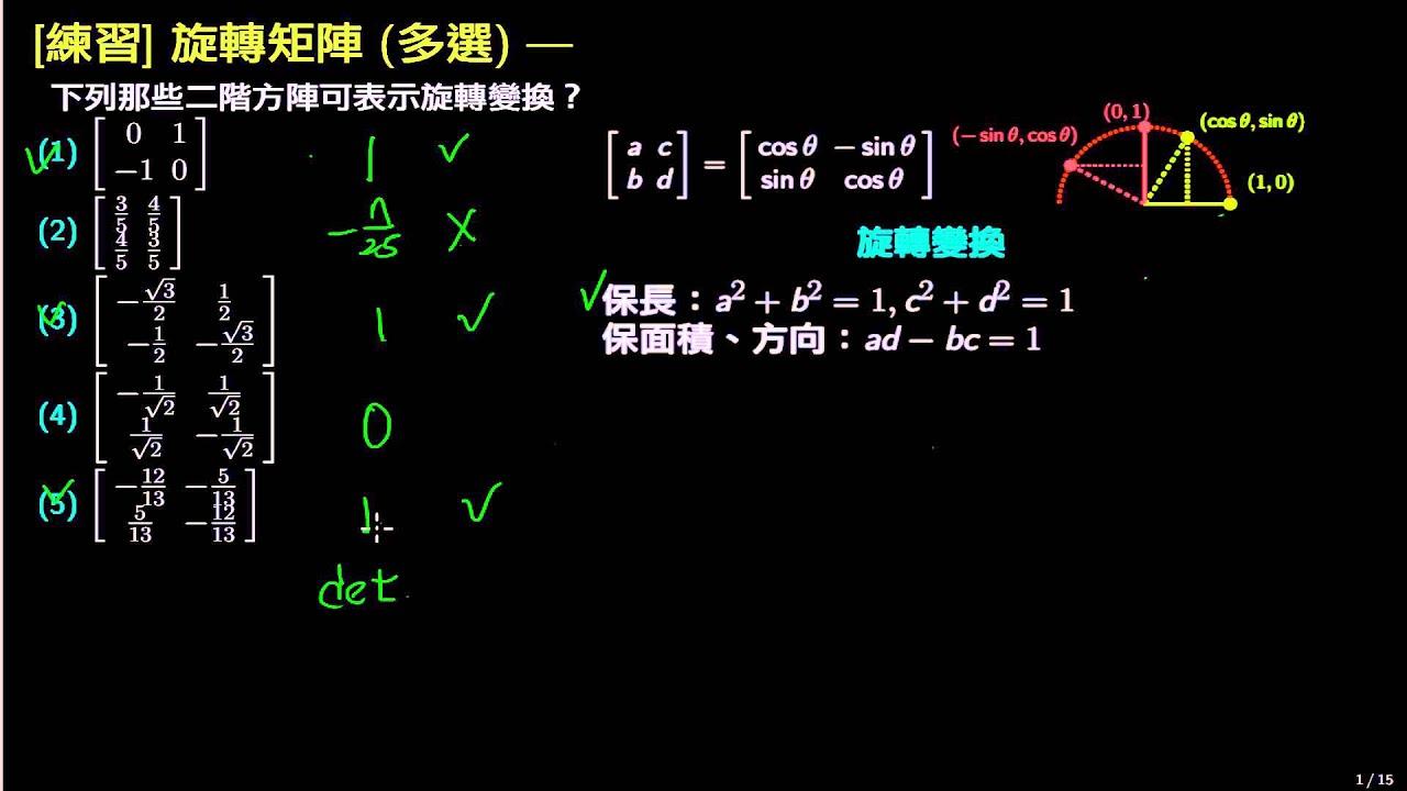 [練習] 線性變換矩陣:由矩陣判斷是否為旋轉變換 - YouTube