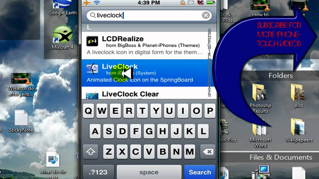 HOW TO GET A LIVE CLOCK AND WEATHER ICON ON IPHONE IPOD TOUCH