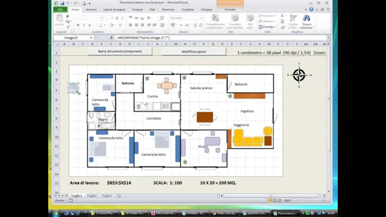 Creare planimetrie di interni con excel youtube for Programma per disegnare interni