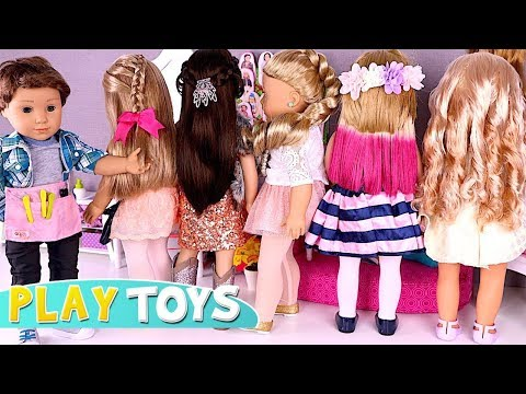 Baby Doll Hair Cut Shop - Play American Girl Dolls DYI hair styles salon Play Toys