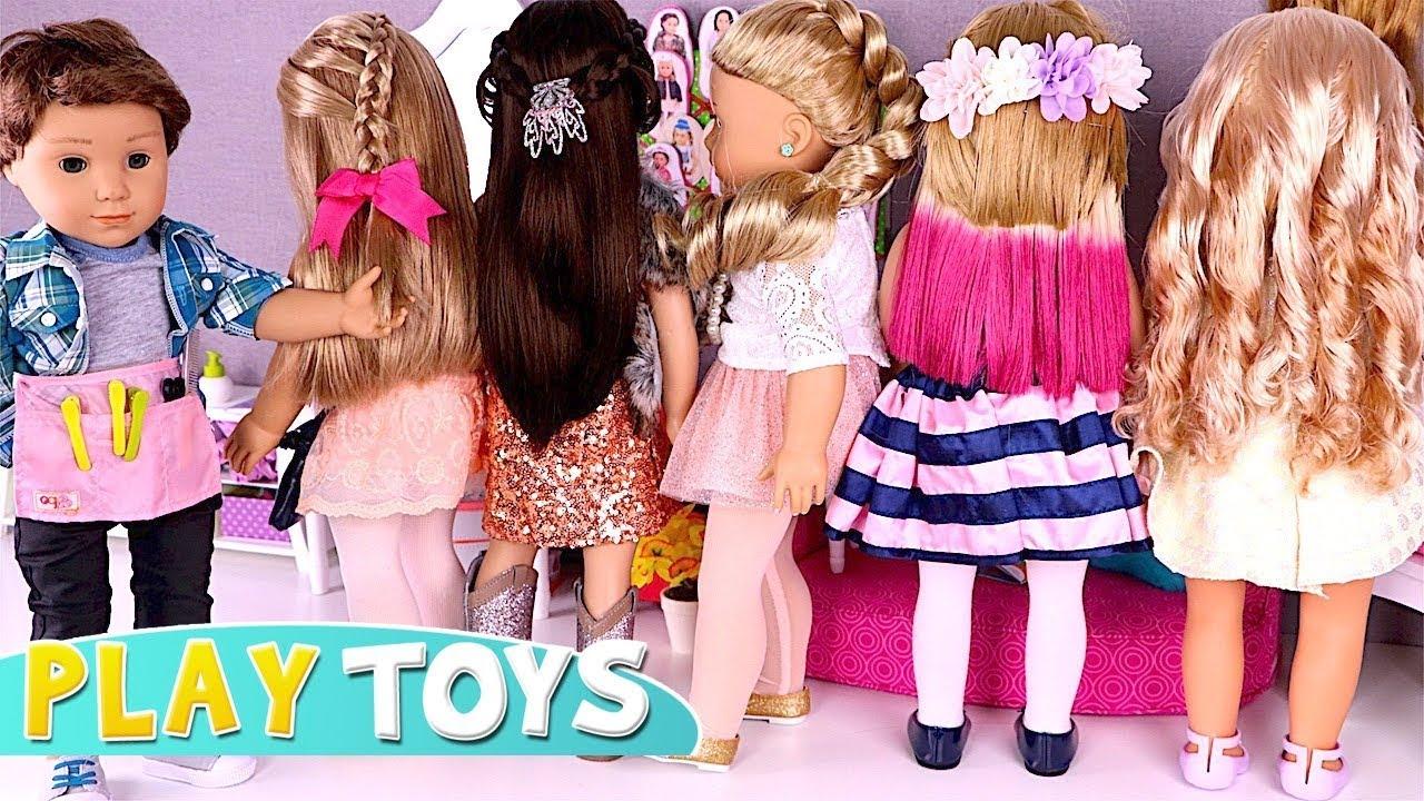 Baby Doll Hair Cut Shop 🎀 Play American Girl Dolls Dyi
