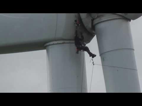 Wind farm technician at work