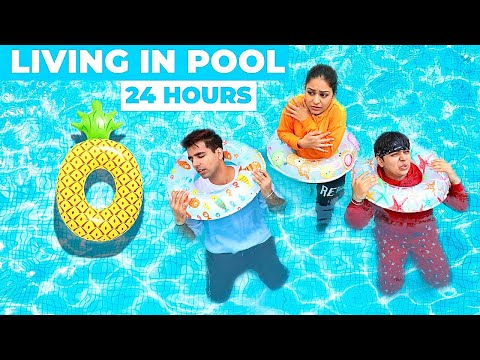 LIVING IN POOL FOR 24 HOURS CHALLENGE | Rimorav Vlogs