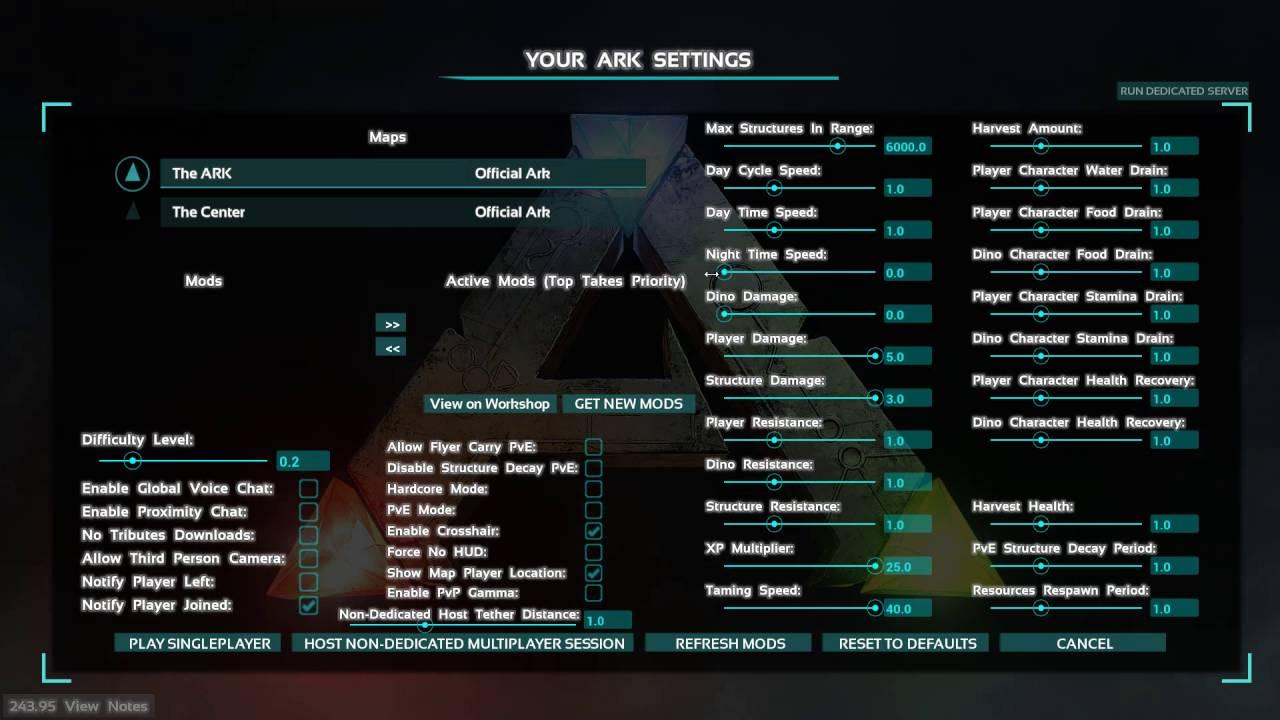 Ark survival dedicated server settings x