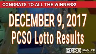 PCSO Lotto Results Today December 9, 2017 (6/55, 6/42, 6D, Swertres, STL & EZ2)