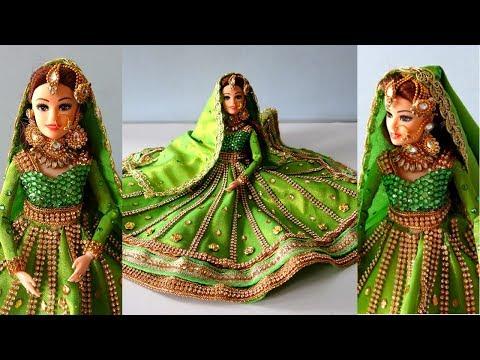Barbie Anarkali lehenga | Traditional Muslim bride doll | Indian barbie doll dress/jewelry making