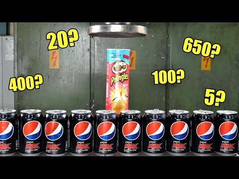 How Many Soda Cans Can You Fit in Pringles Can with Hydraulic Press?