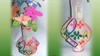 How to make vase use with plastic canvas / Plastic canvas and crochet flower vase / yarn flower vase