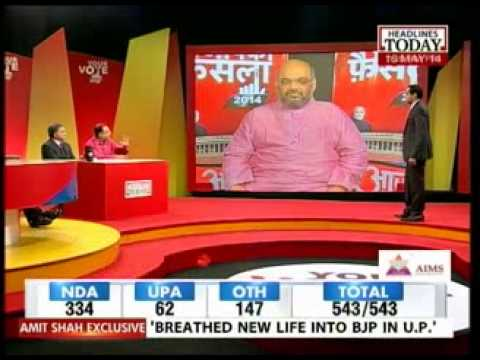 Amit Shah interview  to Rahul Kanwal on Modi campaign strategy, Headlines Today (16 May 2014)