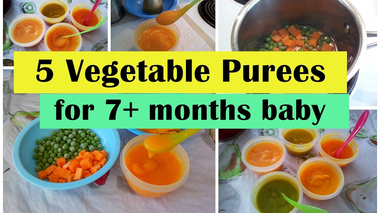 5 Vegetable Purees for 7+ months baby ( Stage 2 - Homemade babyfood) | 7months babyfood recipes