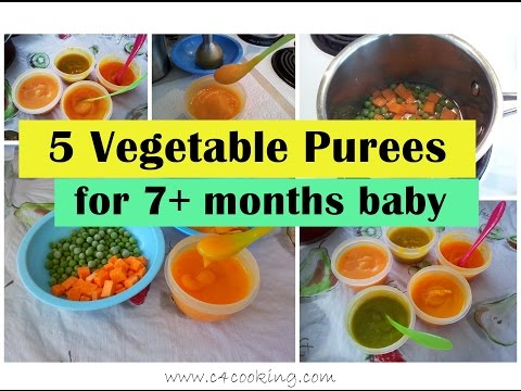 5 Vegetable Purees For 7+ Months Baby ( Stage 2 - Homemade Babyfood)   7months Babyfood Recipes