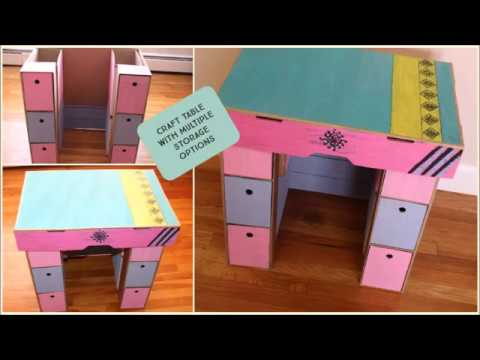 Make A Cardboard Table With Multiple Storage In Just 4 Steps Craft O Berry Youtube