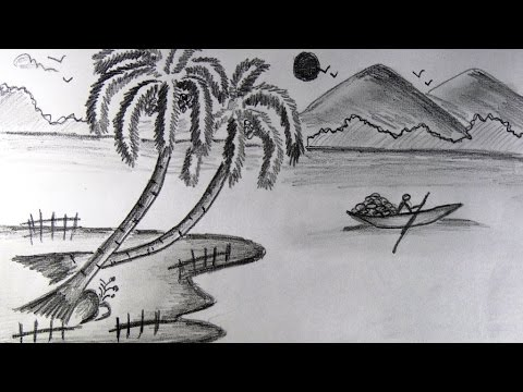 Landscape nature scenery easy pencil drawing for kids step by step