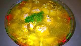 Суп с фрикадельками, щавелем и яйцом. Горячее первое блюдо/Пошаговый рецепт