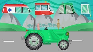 STREET VEHICLES for Children with bad Cabins, Tractor & Ambulance and Bus - Video Kinder