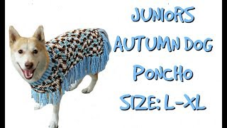 Junior's Autumn Poncho |Large-XL Size Dog Poncho| Crochet Tutorial