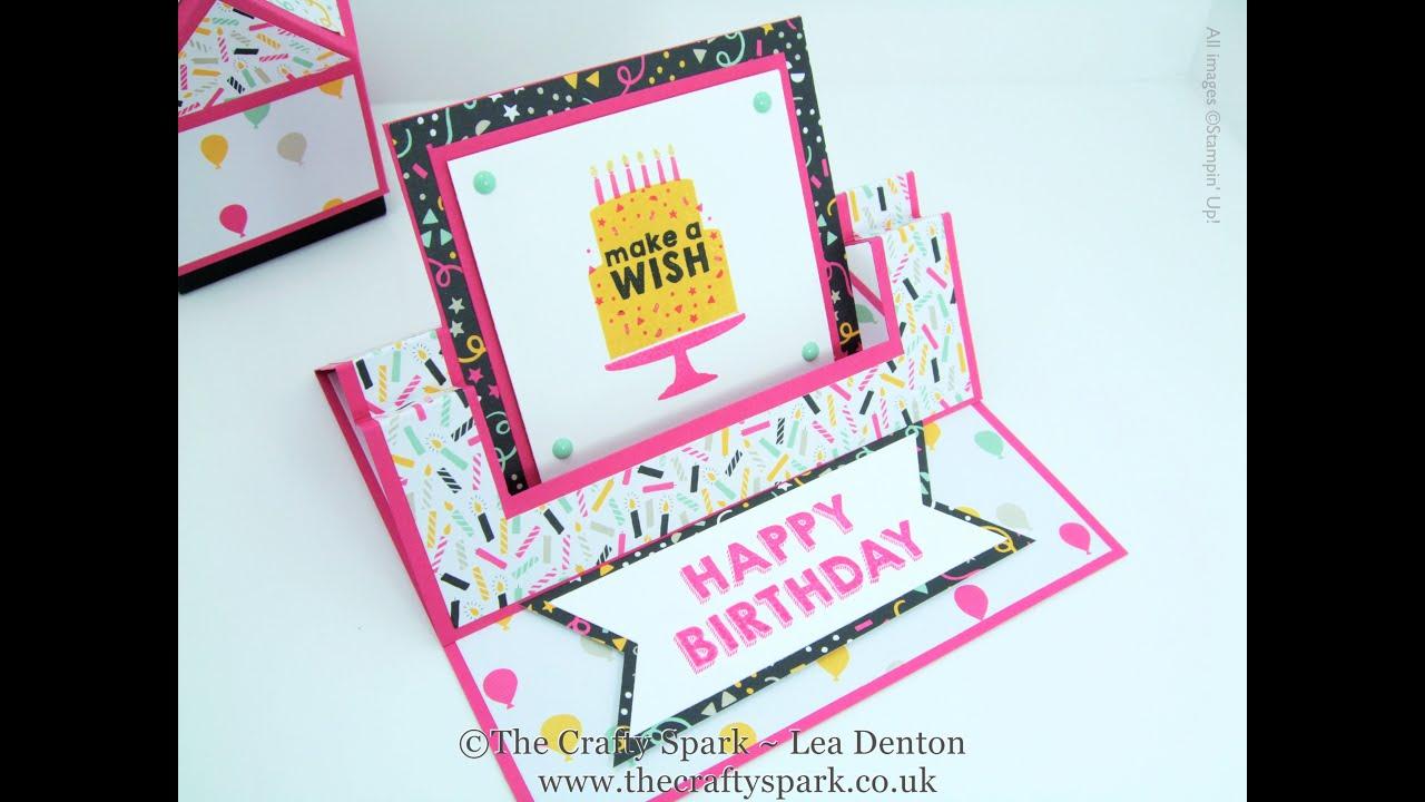 Folding Card Making Ideas Part - 48: Itu0027s My Party Fancy Fold Swing Easel Card Stampinu0027 Up! UK - YouTube