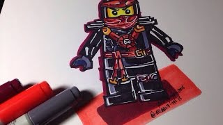 How to draw Ninjago Airjitzu - Red Ninja - Kai - Lego Speed Draw #79