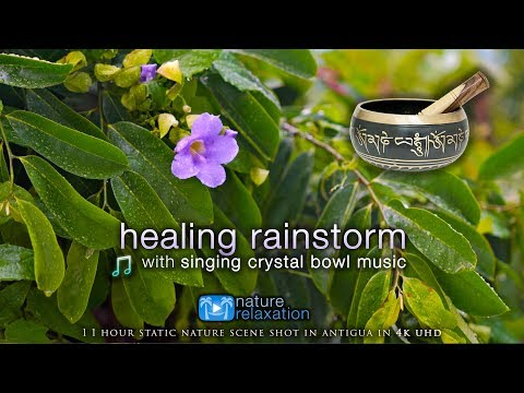 4K Healing Rain & Thunderstorm + Crystal Bowl Music for Deep Relaxation - 1HR
