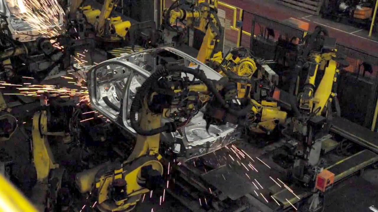 Car Factory Production Line Robots Welding Bodies Youtube