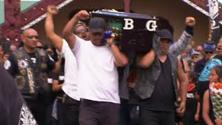 Black Power members perform powerful haka as gang lord's coffin carried from marae