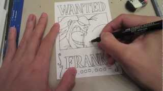 How to draw wanted poster of Franky フランキー