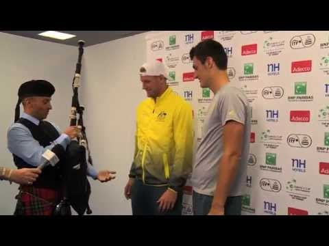 Sam Groth and Bernard Tomic play the bagpipes