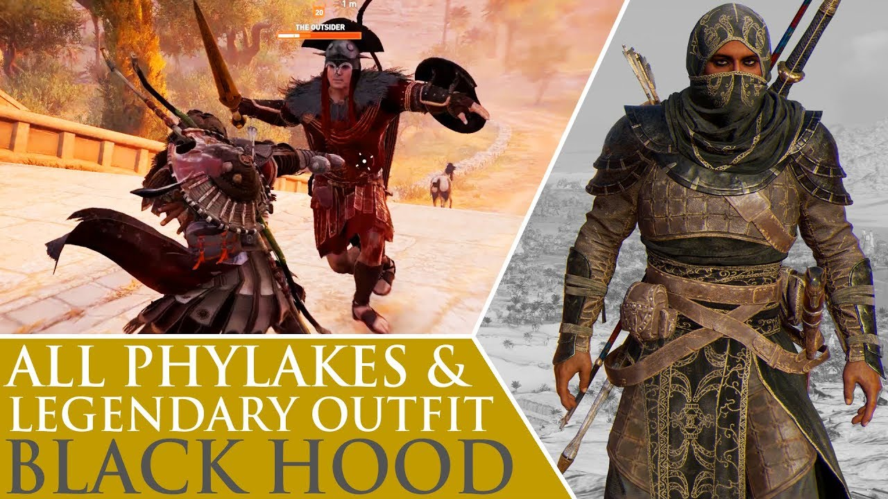 Assassinu0026#39;s Creed Origins - All Phylakes u0026 Black Hood Legendary Outfit - YouTube