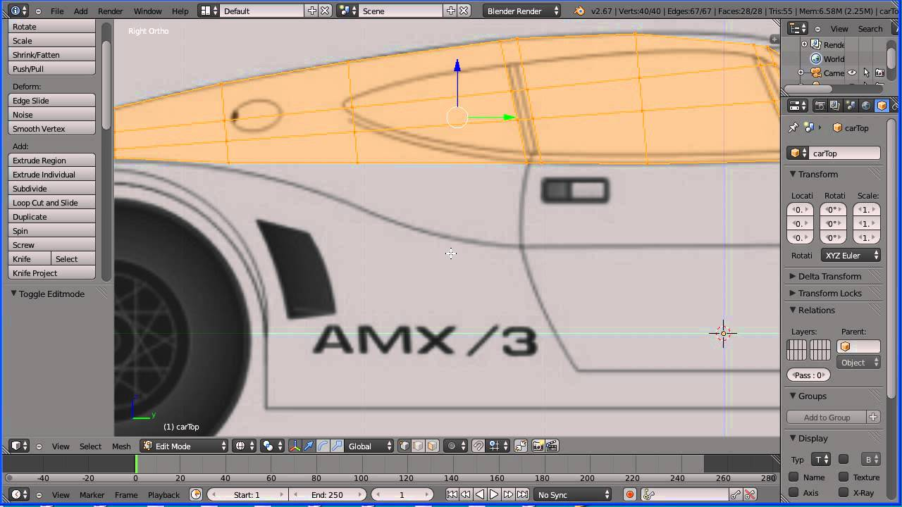 Blender tutorial making a model of a sports car lowish polygon blender tutorial making a model of a sports car lowish polygon count part 2 the top of the car youtube malvernweather Choice Image