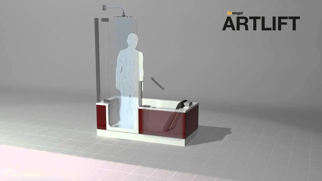 artweger artlift duschbadewanne shower bath duschen baden hebesitz youtube. Black Bedroom Furniture Sets. Home Design Ideas