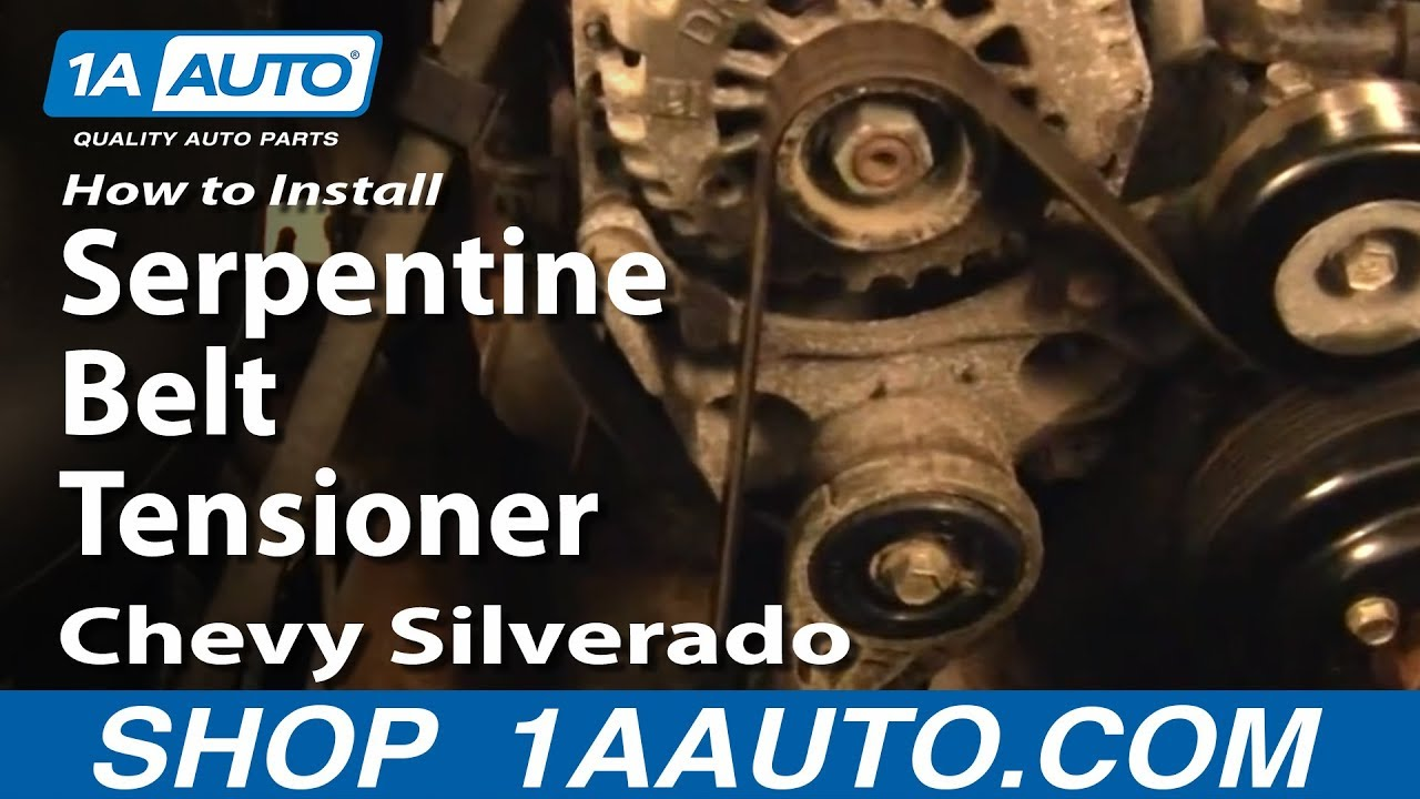 medium resolution of how to replace serpentine belt tensioner 99 14 chevy silverado 1500
