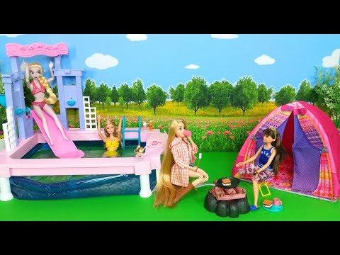 Barbie Rapunzel Elsa go Camping- Fountain Pool 亘丕乇亘賷 丕賱鬲禺賷賷賲 Barbie Barraca de camping Piscina