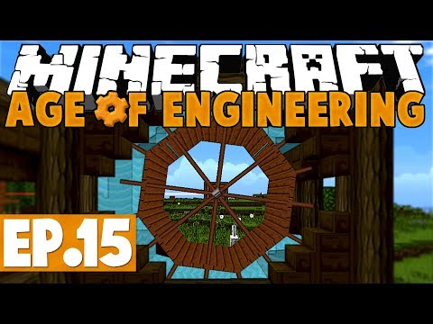 Minecraft Age of Engineering! #15 - Multi-Farm & Water Wheel