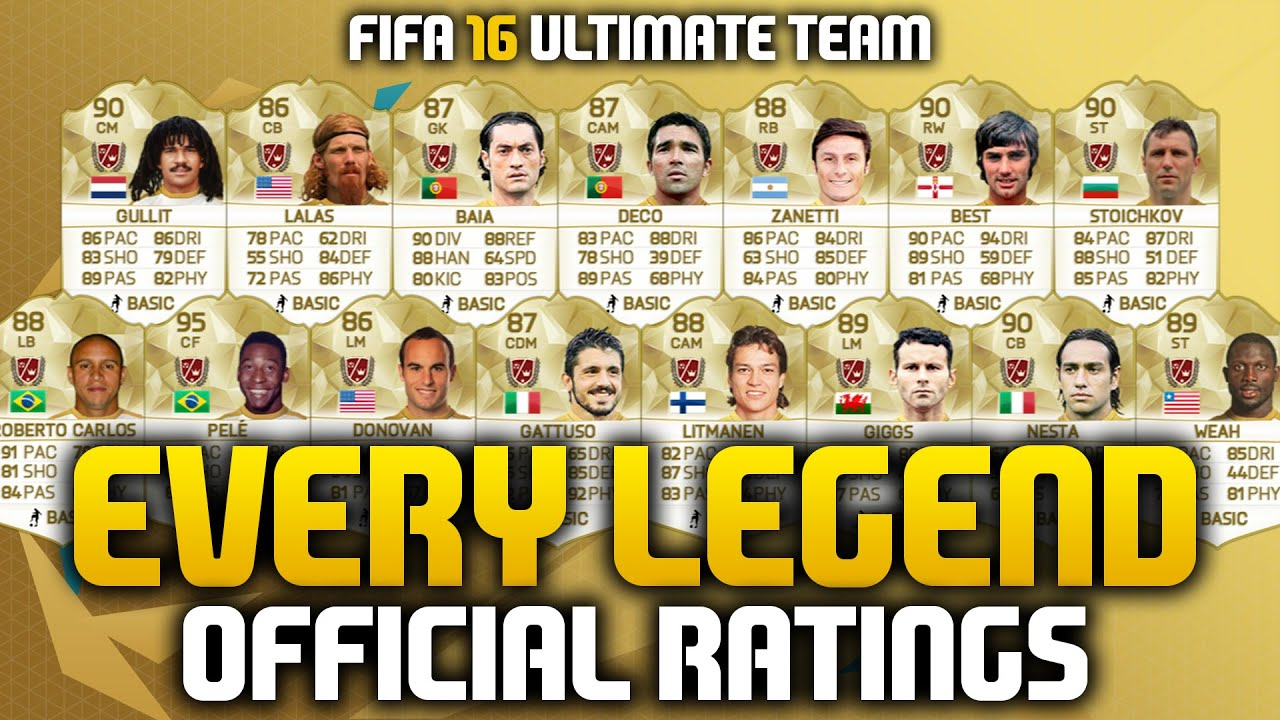 FIFA 16 OFFICIAL NEW LEGEND RATINGS! EVERY LEGEND ON FUT 16! w/ 90