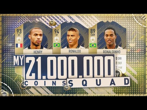 Insanely Expensive 21 Million Coin Squad!! Prime Henry R9 Ronaldinho! Fifa 18 Ultimate Team