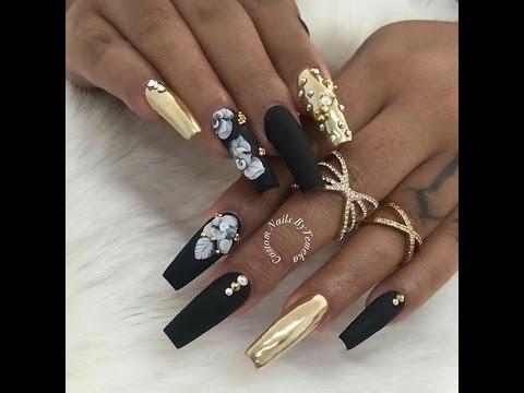 black nail art compilation - stylish