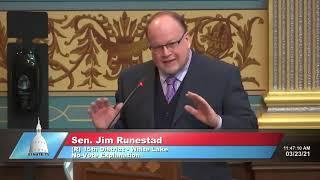 Sen. Runestad addresses the Senate on Hertel MDHHS appointment