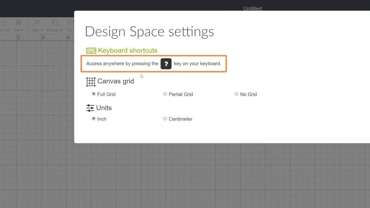 Changing Canvas Settings - Introduction to Design Space ...
