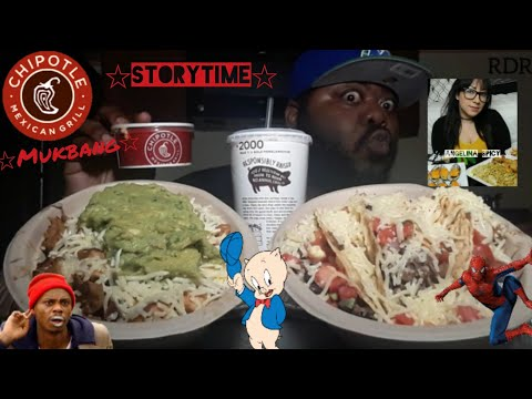 ☆Chipotle Mukbang☆Collab with Angelina Spicy!(StoryTime)[Eating Show]