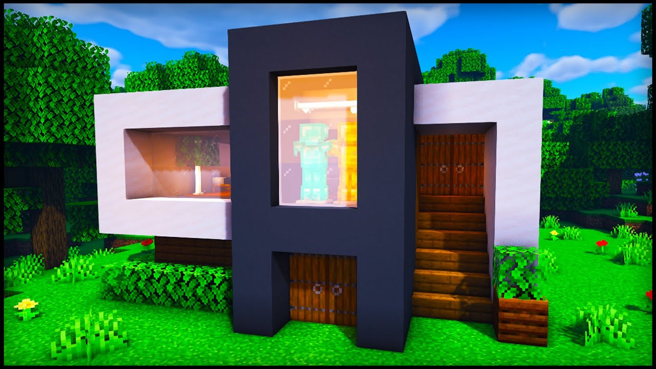Minecraft Small Modern House How To Build A Cool Modern House Tutorial 1 Youtube