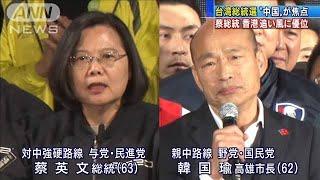 きょう台湾総統選 対中強硬の蔡英文総統が優位(20/01/11)