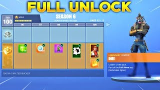 BUYING ALL 100 TIERS! Season 6 Battle Pass ALL ITEMS UNLOCKED! (Fortnite Battle Royale)