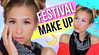 FESTIVAL MAKE UP LOOK 2018 ✨Festival Make Up Tutorial 🌙 nur Drogerie Produkten