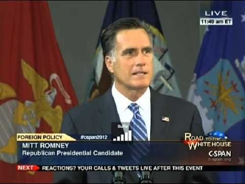Mitt Romney Delivers Major Foreign Policy Speech @ Virginia Military Institute 10/8/12