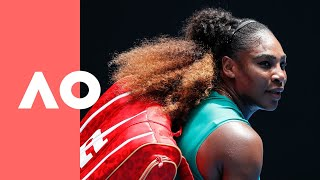 Simona Halep v Serena Williams on-court warm up (4R) | Australian Open 2019